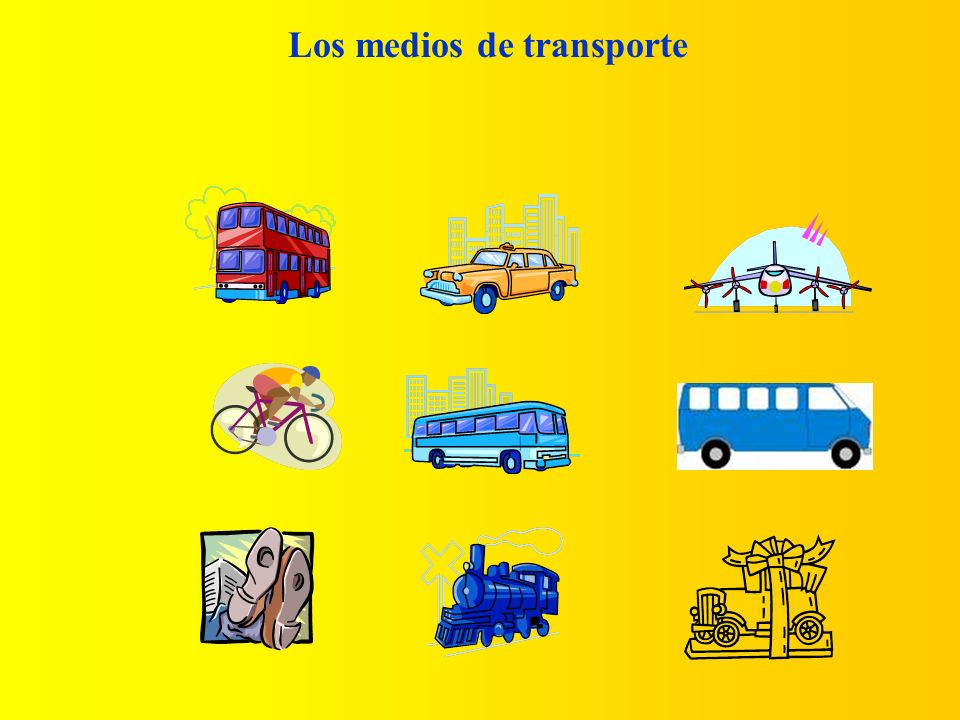 (Modes of transport) Voy-I go al colegio-to school a casa-to home en avión-by plane en coche-by car en autobús-by bus en autocar-by coach en microbús-by minibus en tren-by train en bicicleta-by bike en taxi-by taxi a pie-on foot Now write a description of how you go to school and go home, and what time you do it e.g.