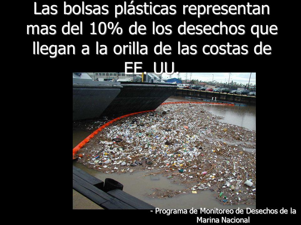 Las bolsas plásticas se fotodegradan: con el pasar del tiempo se descomponen en petro-polímeros mas pequeños y tóxicos - CNN.com/tecnhology 16 de noviembre, 2007