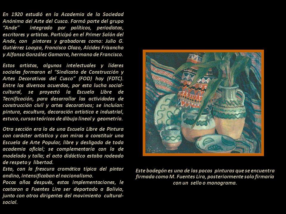 En 1920 estudió en la Academia de la Sociedad Anónima del Arte del Cusco.