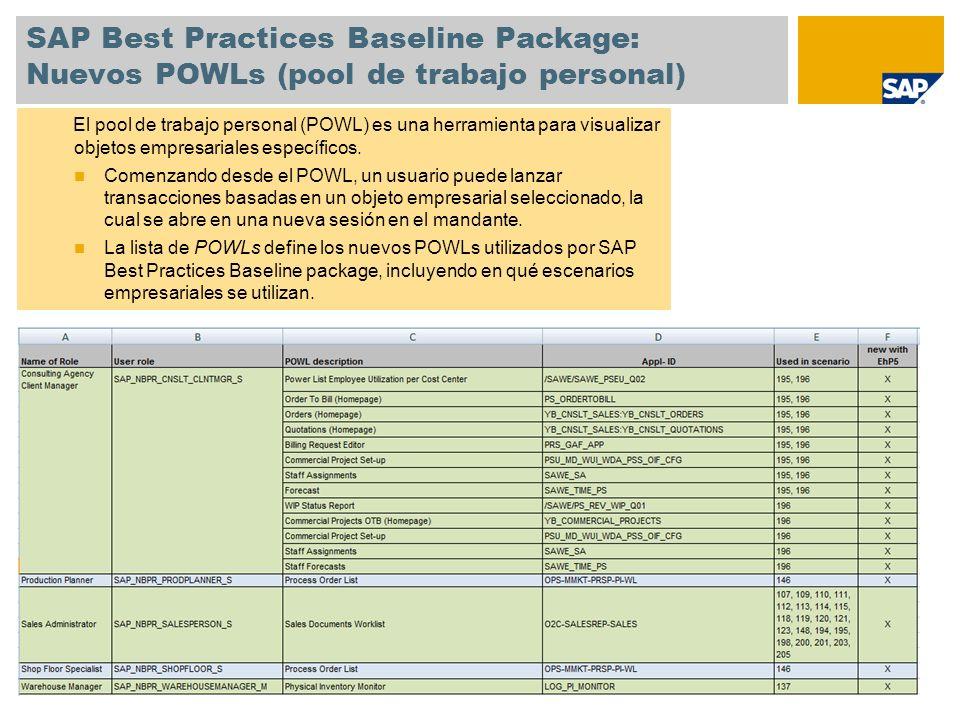 Mejoras en la herramienta de activación Modificaciones en el proceso de activación en la herramienta SAP Best Practices Solution Builder La carga de los datos de instalación es mandatoria La activación sólo es posible una vez terminada la carga de los datos de instalación