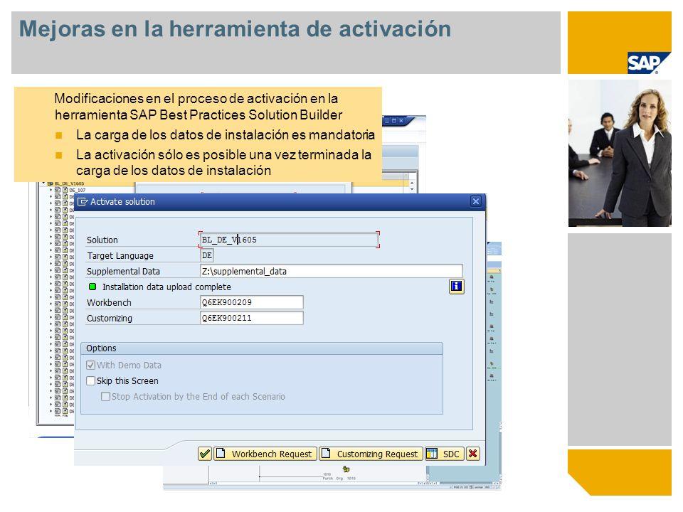 © SAP 2009 / Page 6 Novedades Mejoras en SAP ERP Basados en SAP ERP Enhancement Package 5 Uso de nuevos POWLs (Pool de trabajo personal) Mejoras en la herramienta de activación La herramienta SAP Solution Builder ha sido mejorada Mejoras relacionadas con los escenarios y el contenido Cobertura de nuevos contenidos en el área de Aprovisionamiento Facturación Ventas Servicio Finanzas Resumen de las novedades