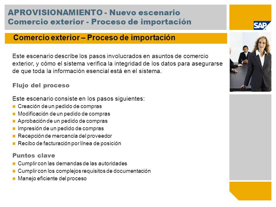 APROVISIONAMIENTO - Escenarios mejorados Resumen de nueva funcionalidad Habilitación de outsourcing de manufactura Outsourcing de manufactura le permite hacer sus procesos de subcontratación más transparentes y eficientes.