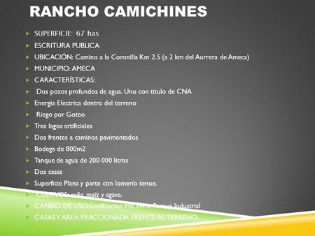 RANCHO CAMICHINES SUPERFICIE: 67 has ESCRITURA PUBLICA