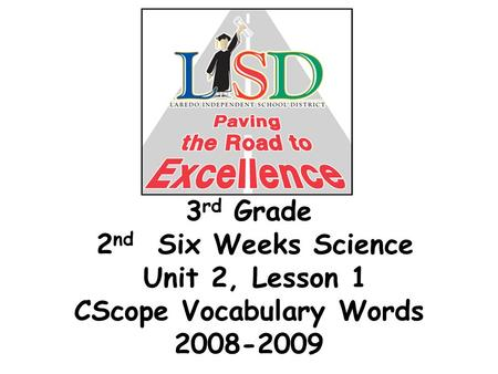 3 rd Grade 2 nd Six Weeks Science Unit 2, Lesson 1 CScope Vocabulary Words 2008-2009.
