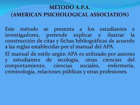 (AMERICAN PSICHOLOGICAL ASSOCIATION)