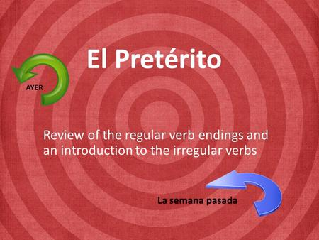 El Pretérito Review of the regular verb endings and an introduction to the irregular verbs AYER La semana pasada.