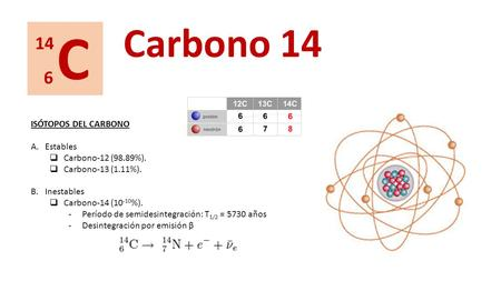 C Carbono ISÓTOPOS DEL CARBONO Estables Carbono-12 (98.89%).