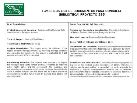 F-25 CHECK LIST DE DOCUMENTOS PARA CONSULTA (BIBLIOTECA) PROYECTO 295 Brief Description:Breve Descripción del Proyecto: Project Name and Location : Expansion.