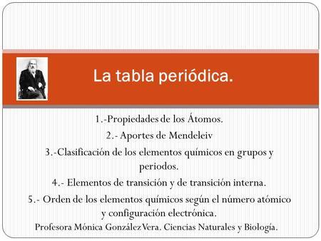 Tabla peridica de los elementos qumicos ppt video online descargar la tabla peridica 1 propiedades de los tomos urtaz Image collections
