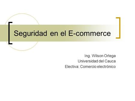 Seguridad en el E-commerce