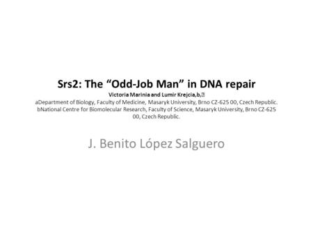 "Srs2: The ""Odd-Job Man"" in DNA repair Victoria Marinia and Lumir Krejcia,b, aDepartment of Biology, Faculty of Medicine, Masaryk University, Brno CZ-625."