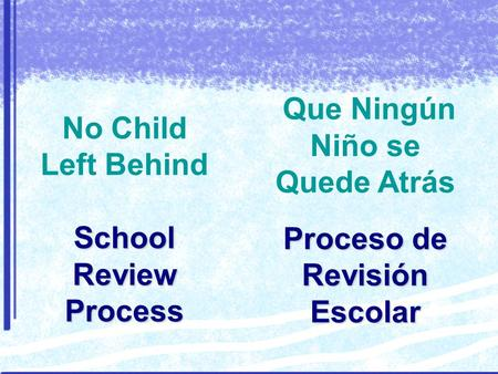 School Review Process No Child Left Behind School Review Process Proceso de Revisión Escolar Que Ningún Niño se Quede Atrás Proceso de Revisión Escolar.