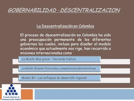La Descentralización en Colombia