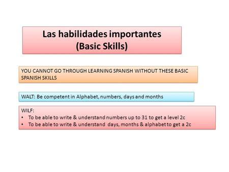 Las habilidades importantes (Basic Skills) Las habilidades importantes (Basic Skills) YOU CANNOT GO THROUGH LEARNING SPANISH WITHOUT THESE BASIC SPANISH.