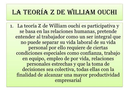 La teoría z de William ouchi