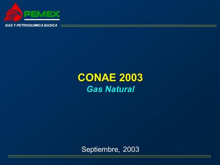 CONAE 2003 Gas Natural Septiembre, 2003 GAS Y PETROQUIMICA BASICA.