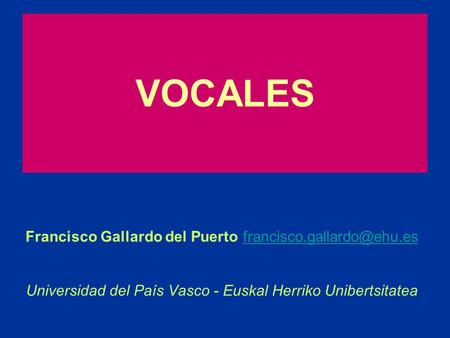 VOCALES Francisco Gallardo del Puerto