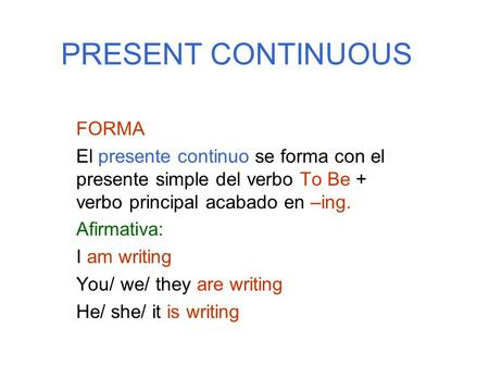 PRESENT CONTINUOUS FORMA