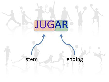 "JUGAR stemending. ""jugar"" is a stem-changing boot verb The endings are the same as regular AR verbs The forms inside the boot change from u  ue in the."