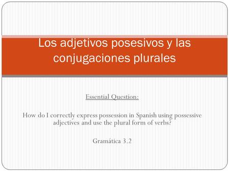 Essential Question: How do I correctly express possession in Spanish using possessive adjectives and use the plural form of verbs? Gramática 3.2 Los adjetivos.