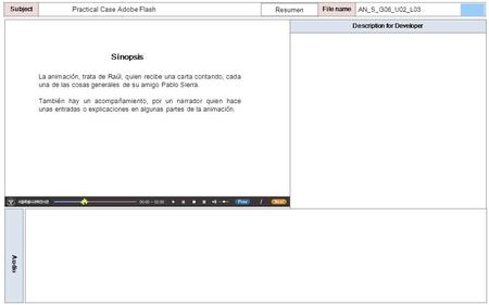 Description for Developer Audio SubjectLO File name Practical Case Adobe Flash Sinopsis Resumen AN_S_G06_U02_L03 La animación, trata de Raúl, quien recibe.