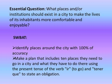 Essential Question: What places and/or institutions should exist in a city to make the lives of its inhabitants more comfortable and enjoyable? SWBAT:
