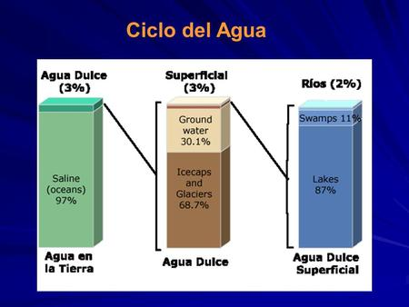 Ciclo del Agua. Water source Percent of fresh water Percent of total water Oceans, Seas, & Bays--96.5 Ice caps, Glaciers, & Permanent Snow 68.71.74 Groundwater--1.7.