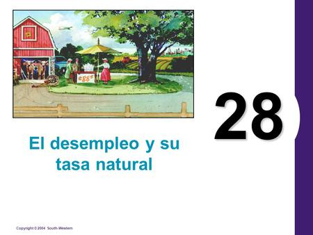 Copyright © 2004 South-Western 28 El desempleo y su tasa natural.