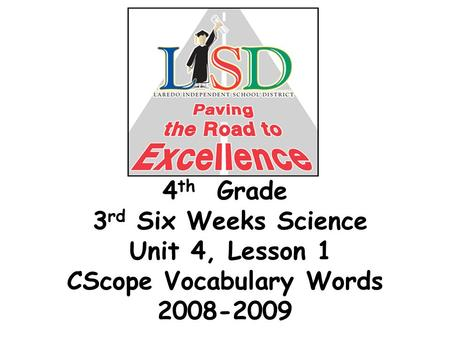 4 th Grade 3 rd Six Weeks Science Unit 4, Lesson 1 CScope Vocabulary Words 2008-2009.