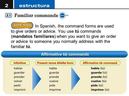Copyright © 2008 Vista Higher Learning. All rights reserved.2.1-1  In Spanish, the command forms are used to give orders or advice. You use tú commands.