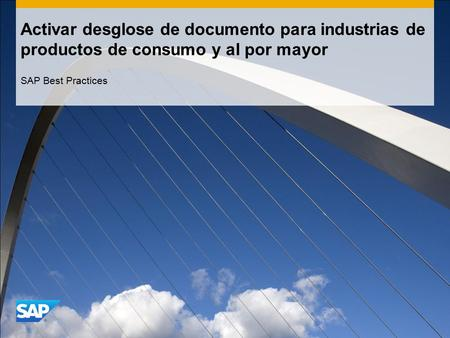 Activar desglose de documento para industrias de productos de consumo y al por mayor SAP Best Practices.
