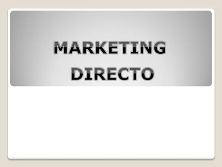 MARKETING DIRECTO.