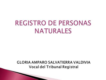 GLORIA AMPARO SALVATIERRA VALDIVIA Vocal del Tribunal Registral.