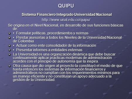QUIPU Sistema Financiero Integrado Universidad Nacional
