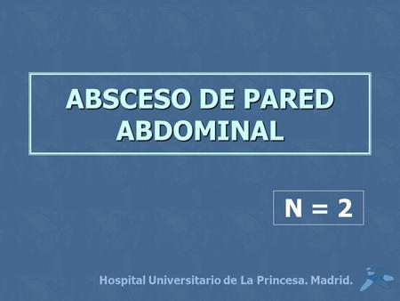 ABSCESO DE PARED ABDOMINAL Hospital Universitario de La Princesa. Madrid. N = 2.