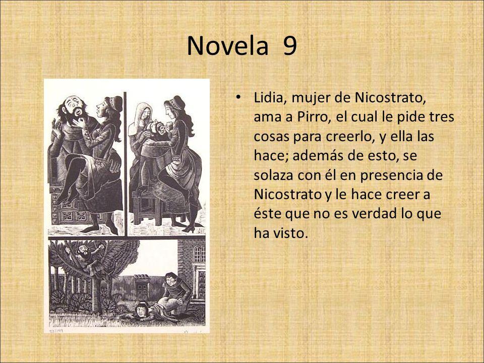 Novela 10 Dos ciudadanos de Siena aman a una mujer, comadre de uno de ellos ; muere el compadre y regresa a ver a su compañero, conforme a la promesa que le había hecho, y le cuenta cómo se está allá.