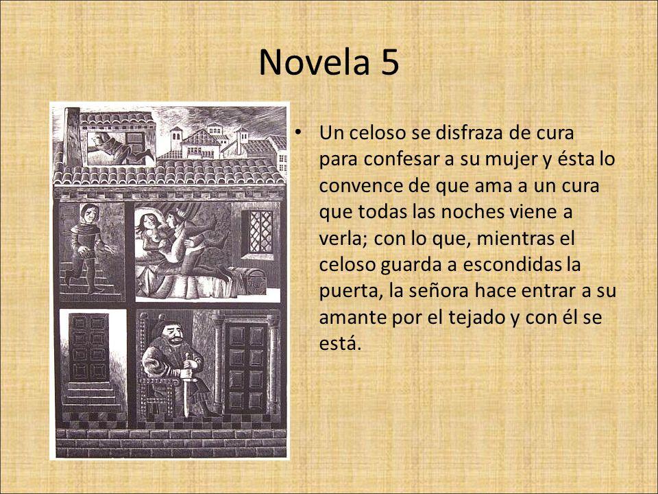 Novela 6 Doña Isabella, estando con Leonetto, es visitada por un micer Lambertuccio, que la ama; regresa su marido y la señora hace salir de la casa a micer Lambertuccio con un puñal en la mano, y el marido acompaña luego a Leonetto.