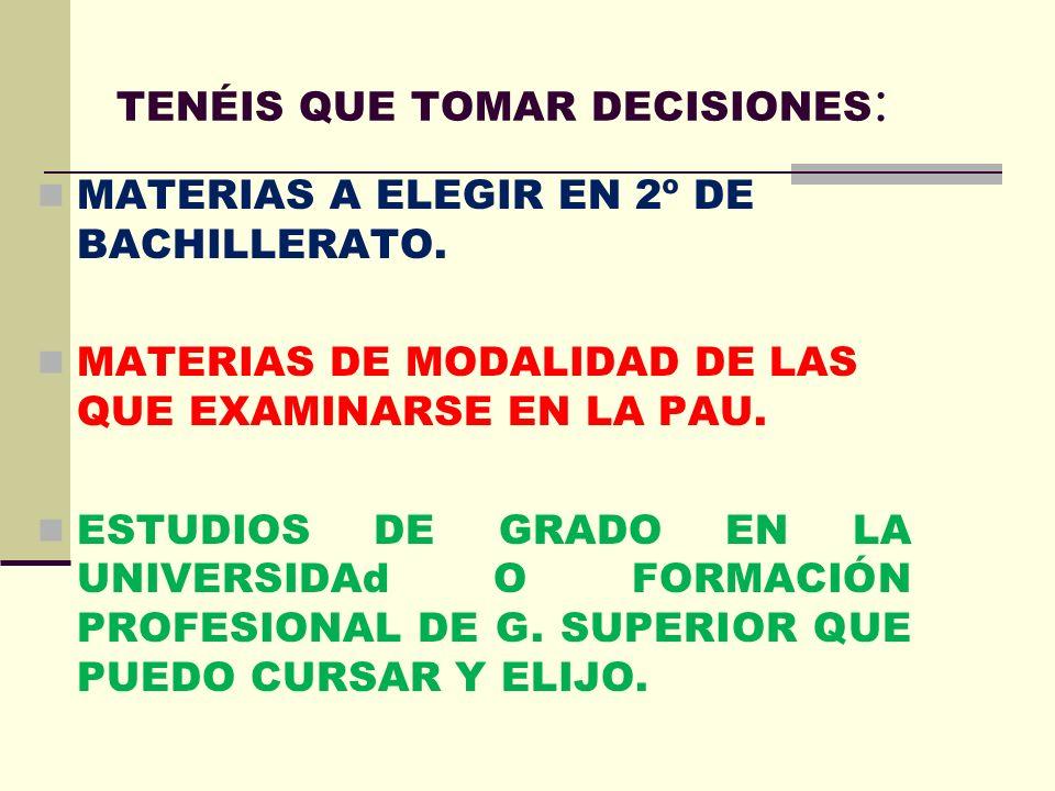 TENÉIS QUE TOMAR DECISIONES : MATERIAS A ELEGIR EN 2º DE BACHILLERATO.