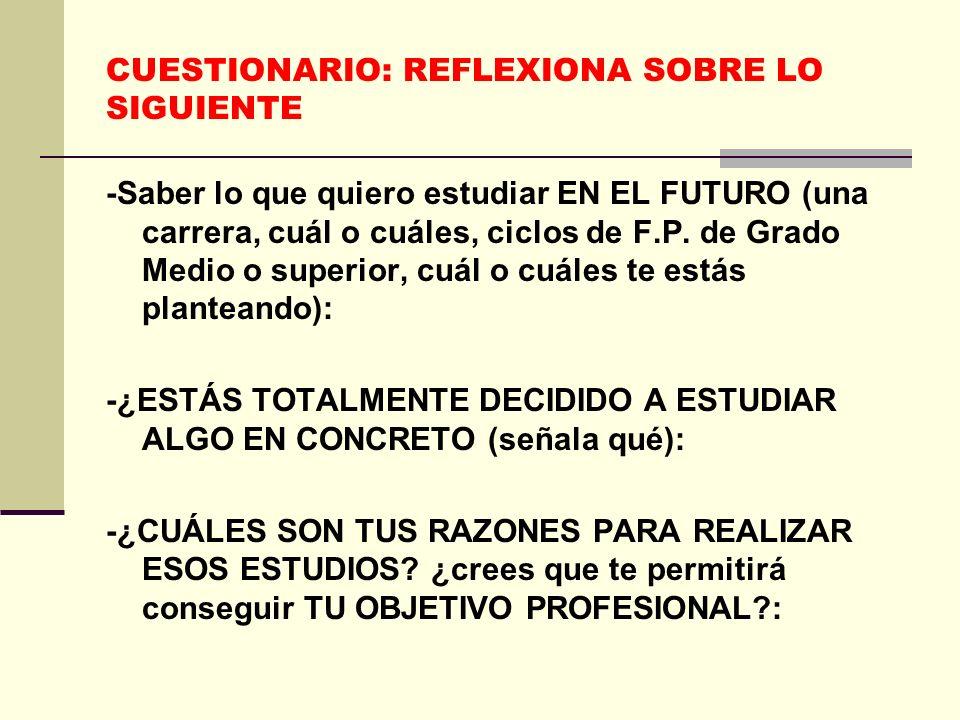 CUESTIONARIO: REFLEXIONA SOBRE LO SIGUIENTE -Saber lo que quiero estudiar EN EL FUTURO (una carrera, cuál o cuáles, ciclos de F.P.