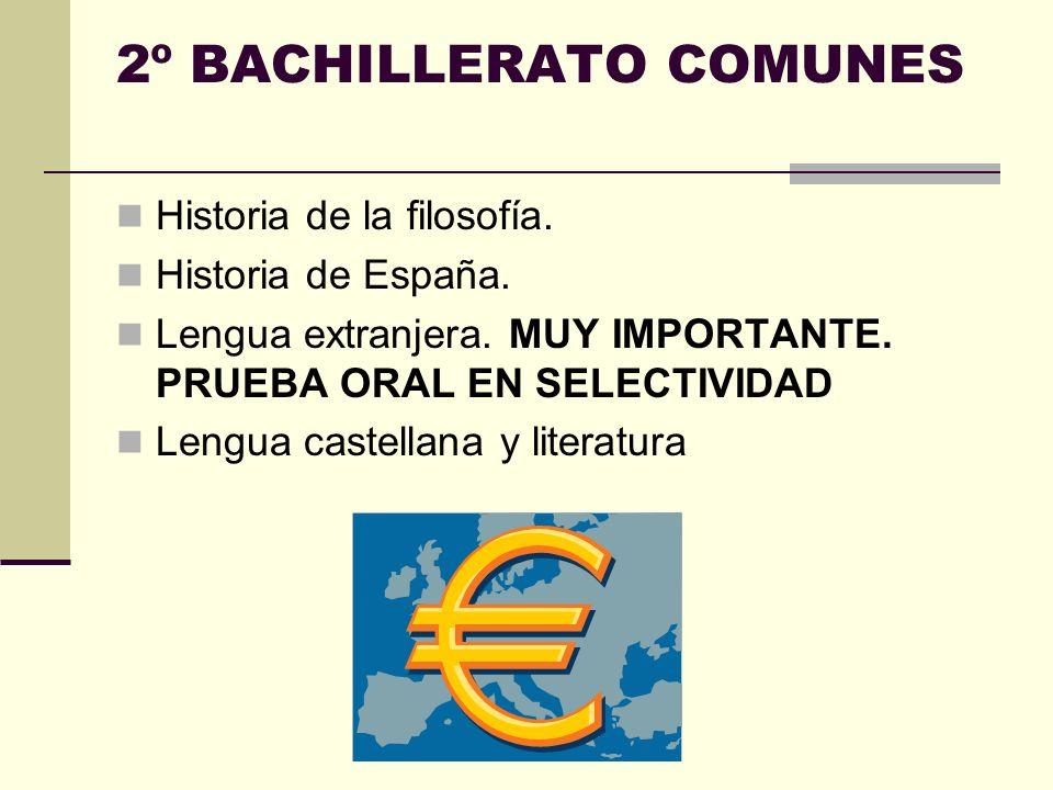 2º BACHILLERATO COMUNES Historia de la filosofía.Historia de España.