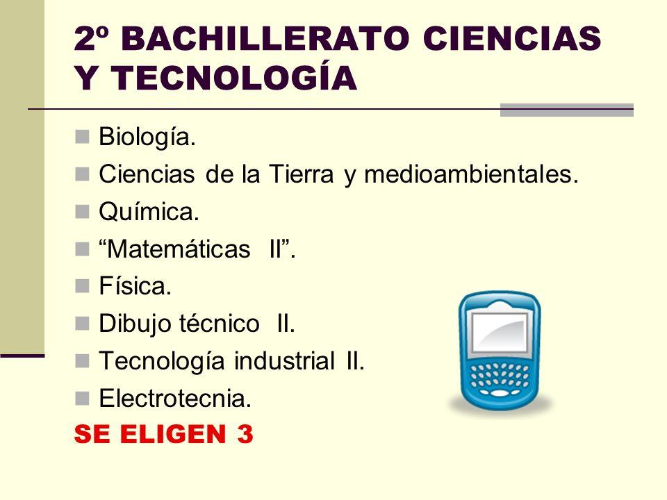2º BACHILLERATO CIENCIAS Y TECNOLOGÍA Biología.Ciencias de la Tierra y medioambientales.