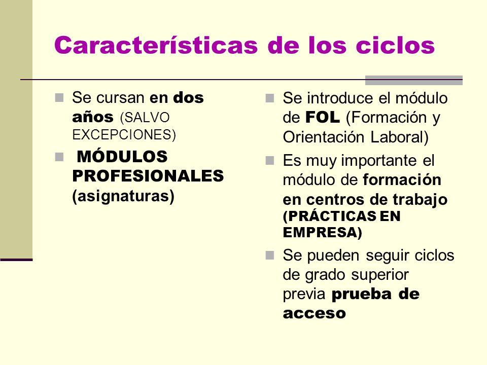 Características de los ciclos Se cursan en dos años (SALVO EXCEPCIONES) MÓDULOS PROFESIONALES (asignaturas) Se introduce el módulo de FOL (Formación y Orientación Laboral) Es muy importante el módulo de formación en centros de trabajo (PRÁCTICAS EN EMPRESA) Se pueden seguir ciclos de grado superior previa prueba de acceso