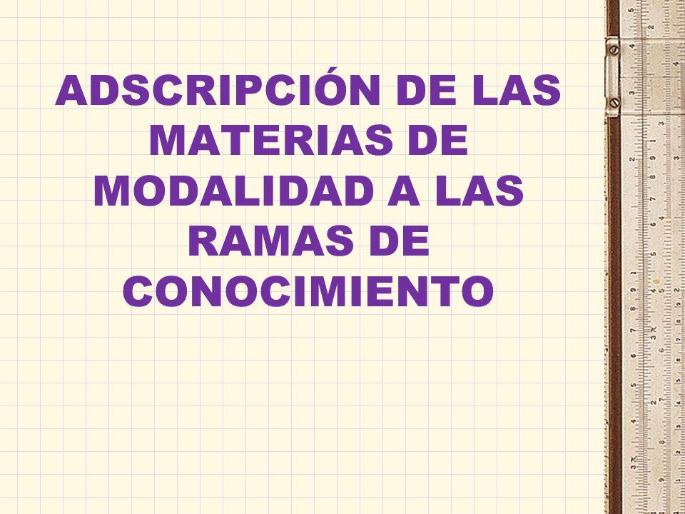 ADSCRIPCIÓN DE LAS MATERIAS DE MODALIDAD A LAS RAMAS DE CONOCIMIENTO