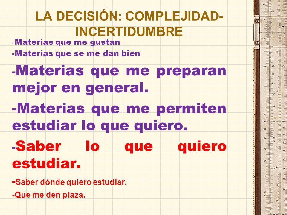 LA DECISIÓN: COMPLEJIDAD- INCERTIDUMBRE - Materias que me gustan -Materias que se me dan bien - Materias que me preparan mejor en general.