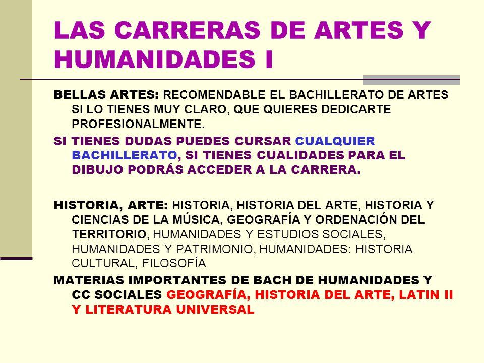 LAS CARRERAS DE ARTES Y HUMANIDADES I BELLAS ARTES: RECOMENDABLE EL BACHILLERATO DE ARTES SI LO TIENES MUY CLARO, QUE QUIERES DEDICARTE PROFESIONALMENTE.