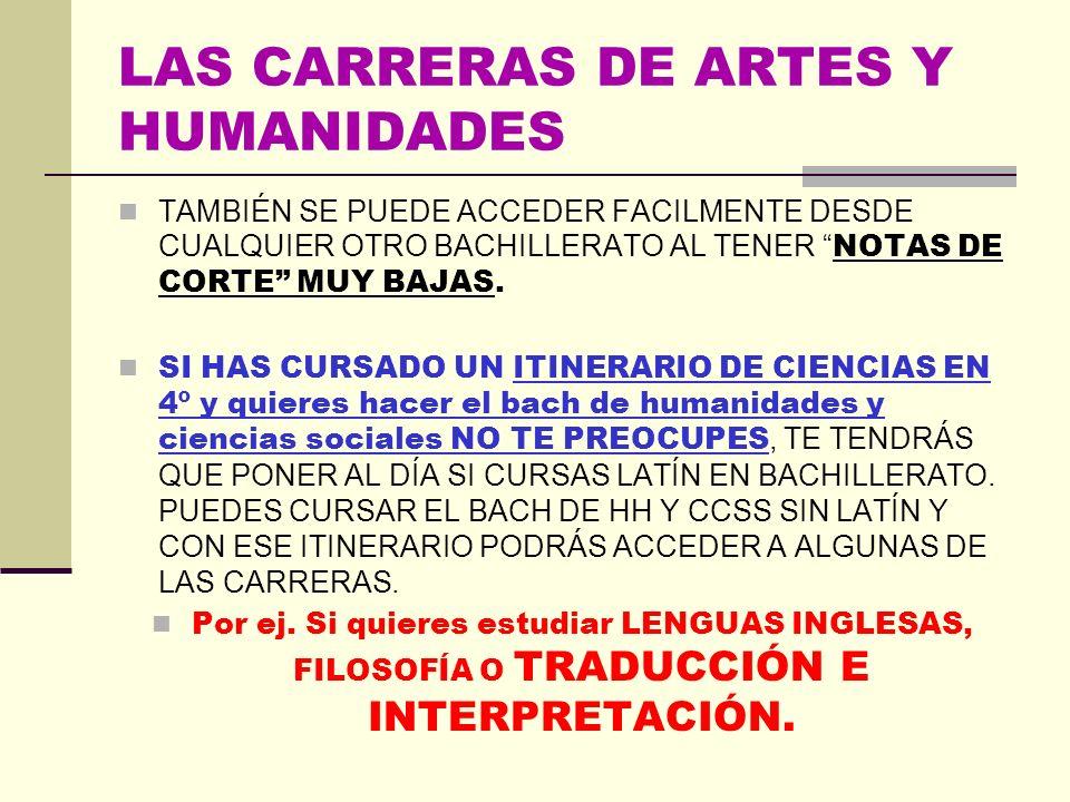 LAS CARRERAS DE ARTES Y HUMANIDADES TAMBIÉN SE PUEDE ACCEDER FACILMENTE DESDE CUALQUIER OTRO BACHILLERATO AL TENER NOTAS DE CORTE MUY BAJAS.