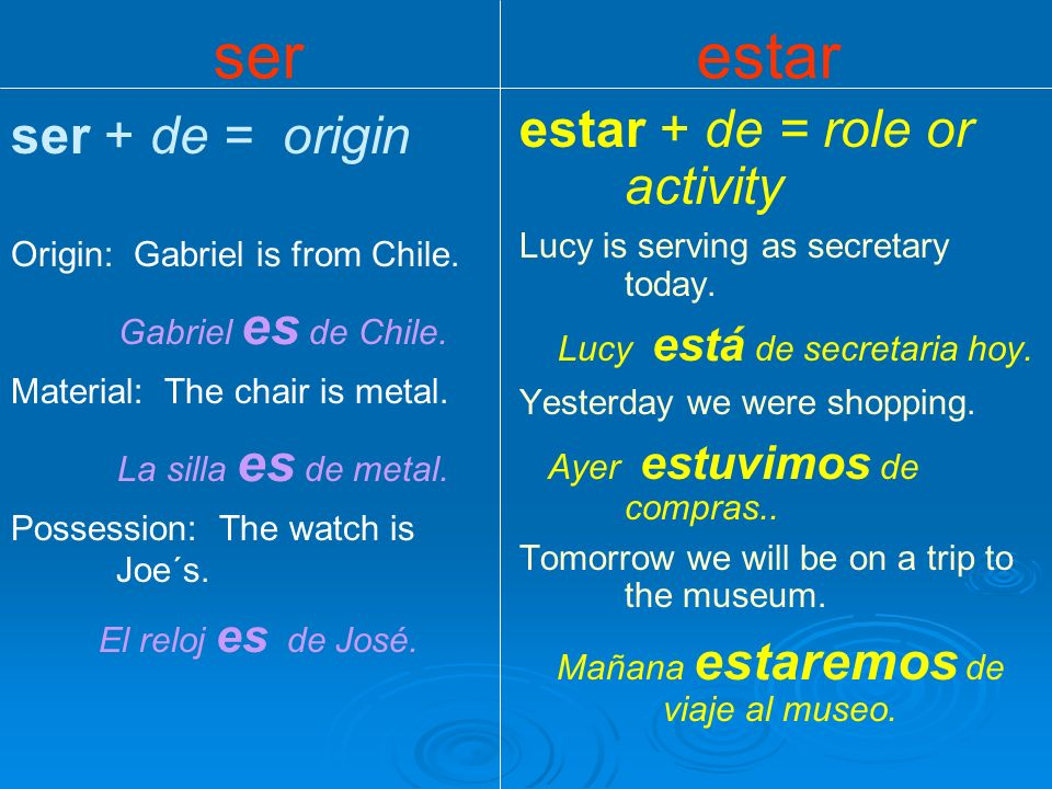 ser + de = origin Origin: Gabriel is from Chile.Gabriel es de Chile.