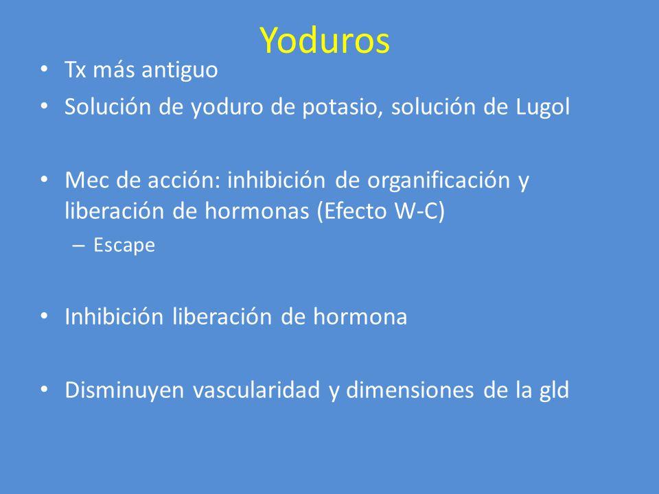 Yoduros Usos clínicos: resp rápida Prequirúrgico: 1 sem a 10 días Crisis tirotóxicas junto a antitiroideos Protección Dosis: 2-6 gotas Lugol (8 mg por gota) 1-2 gotas sol yoduro de potasio (50 mg por gota) Efecto adverso ppal: hipersensibilidad Drogas con contenido de yoduros
