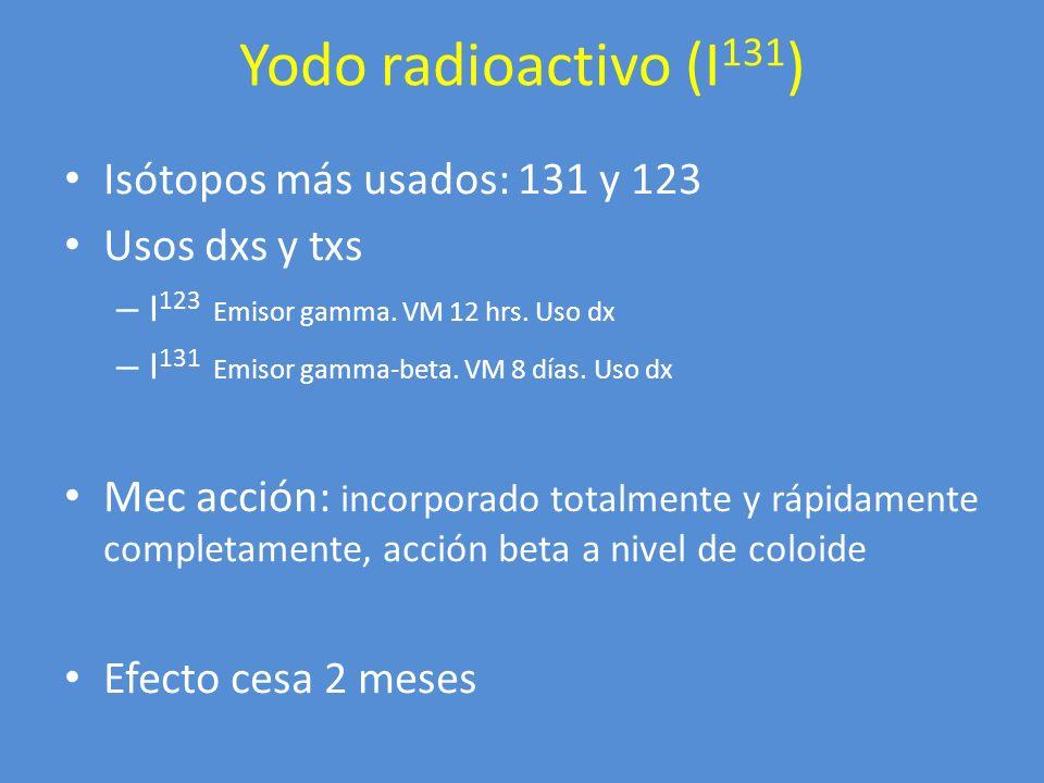 Usos clínicos Hipertiroidismo: gld aumentada – Uso previo de yoduros* – Antitiroideos – Dosis 7000-10000 rads/gramo tejido – Sxs mejoran 2-3 meses – 1 dosis: 80% Tx ablativo Ca tiroides, metástasis – Valorar suspensión de tx supresivo Ventajas - Desventajas Yodo radioactivo (I 131 )
