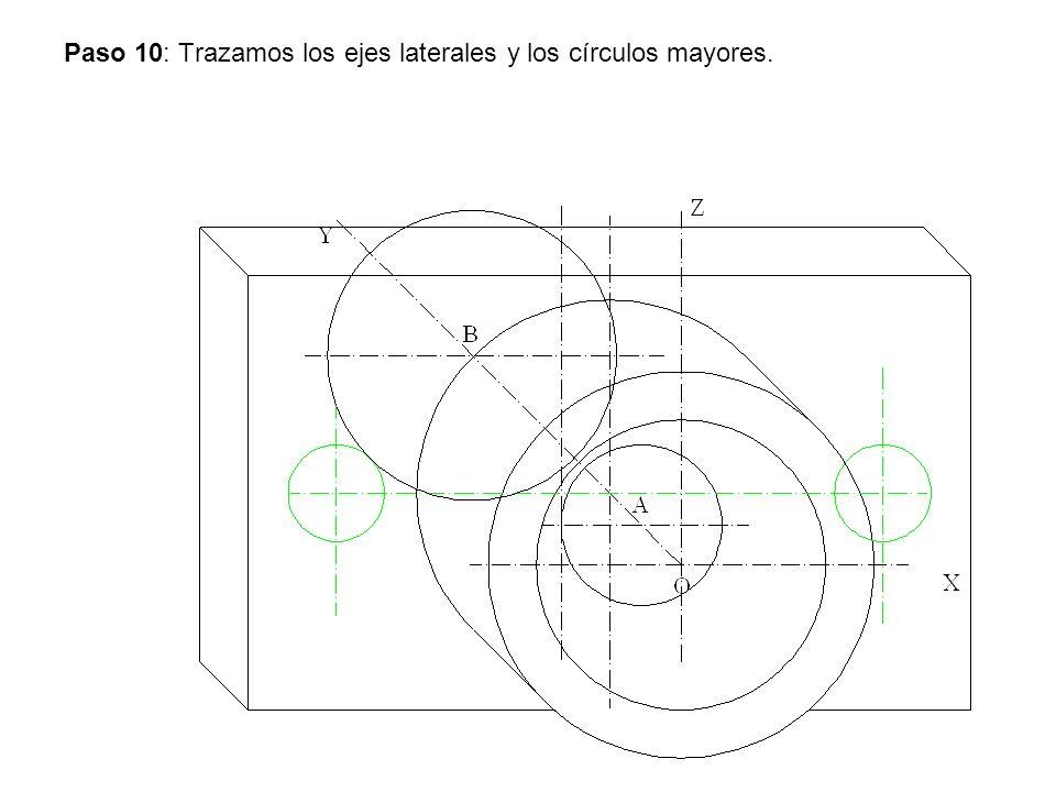 Paso 11: Trazamos los ejes y el circulo pequeño.